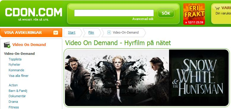 Video on demand med CDON.COM